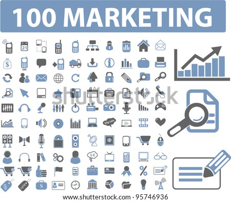 marketing & management icons set, vector - stock vector