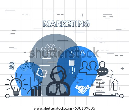 Marketing, analysis and market research, deposits, contributions and savings, statistics and accounting. Illustration thin line design of vector doodles