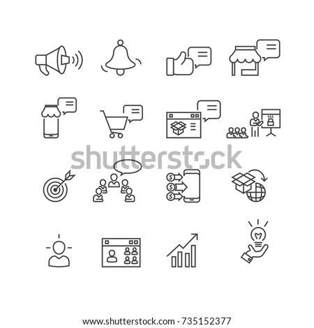 Marketing and Business set icons, vector