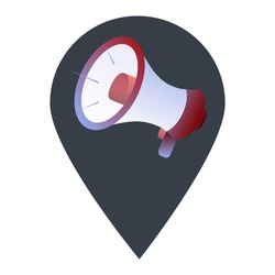 Marketing and election campaign location map pin pointer icon. Element of map point for mobile concept and web apps. Icon for website design and app development. Premium speaker promo flat icon sign.