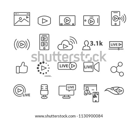 Marketing and Live Video set icons, vector