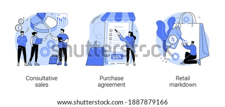 Marketing and promotion abstract concept vector illustration set. Consultative sales, purchase agreement, retail markdown, terms and conditions, product price, b2b selling, discount abstract metaphor.