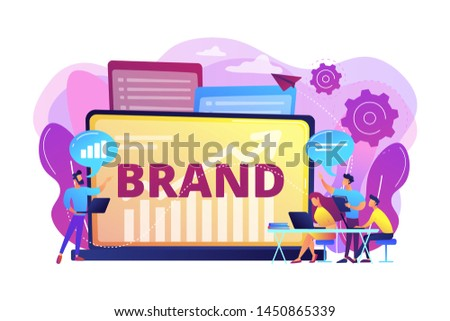 Marketing and promotional campaign. Brand awareness building. Branded workshop. workshop organized by brand, useful marketing event concept. Bright vibrant violet vector isolated illustration