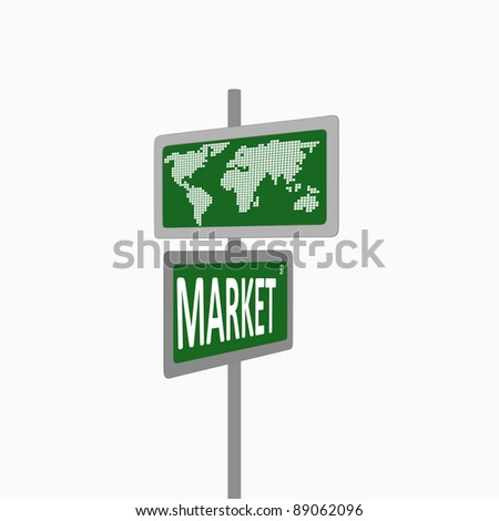 Marketing and strategy sign isolated on a white background