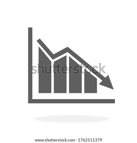 Marketing Bar Chart Graph Economic Downturn - Icon Vector Illustration Silhouette Stock foto ©