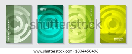 Marketing booklet title pages set. Flat presentation concentric elements motion vector backdrops. Aim goal achievement circles concept. Abstract catalog front pages templates. Photo stock ©