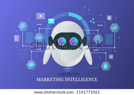 Marketing bot, chatbot, data marketing intelligence, artificial intelligence flat style futuristic vector banner with icons