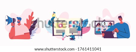 Marketing campaign, video conference, business analysis concept illustration in modern flat and clean design. Men and women use laptop and tablet. Foto stock ©