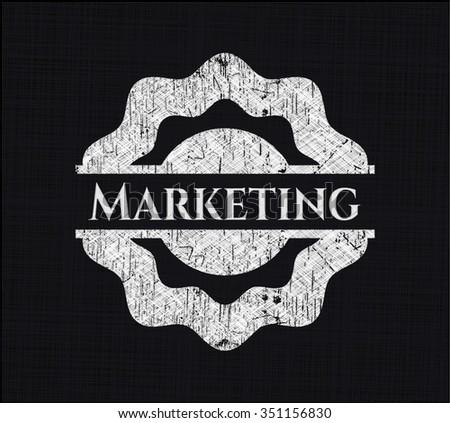Marketing chalkboard emblem on black board