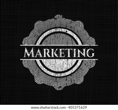 Marketing chalkboard emblem written on a blackboard