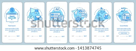Marketing channels blue onboarding mobile app page screen vector template. Ways of customer attraction walkthrough website steps with linear illustrations. UX, UI, GUI smartphone interface concept