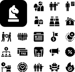 marketing Collection Vector Icons Set. marketing filled icons also megaphone, discount, opportunity, reporter, ideas, target, feedback, vision, mission, hot line, mailbox