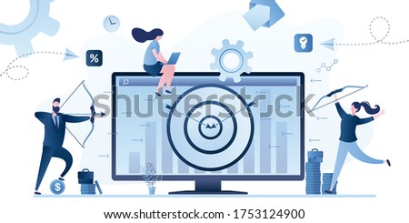 Marketing concept background. Targeting, reaching audience. Advertising campaign - from business to consumer. Remarketing strategy,digital marketing tool. Business people shoot bows at target. Vector