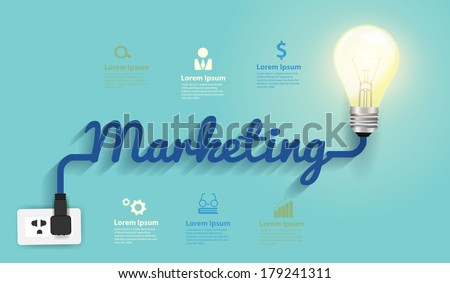 Marketing concept, Creative light bulb idea abstract infographic  layout, diagram, step up options, Vector illustration modern design template