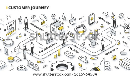 Marketing concept demonstrating the main stages of a customer journey. A man moves on the map of the purchase process. Isometric outline illustration for web banners, hero images, printed materials