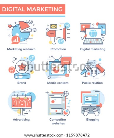 Marketing concept icons, thin line color set, flat design