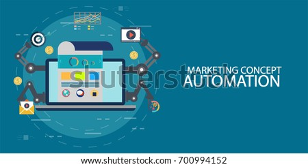 Marketing concept of automated marketing, digital marketing automation flat vector illustration with email, search and chat icons