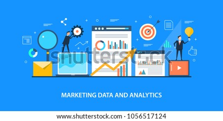 Marketing data analysis - Marketing idea - Business analytics - Strategy flat vector banner with icons and characters