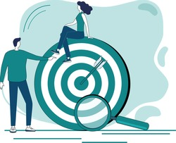 Marketing, data exploration, and goal search.the concept of choosing business directions.Search for ideas and new perspectives.Flat vector illustration.