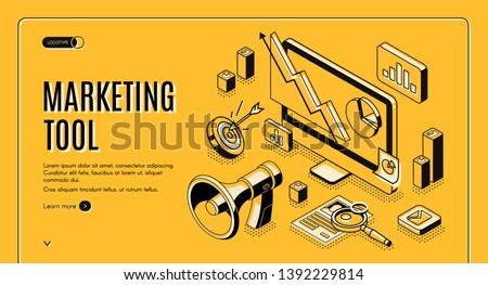Marketing e-commerce, data analysis tool isometric web banner. Digital business content, column charts on computer screen. Social media network, internet technology. 3d vector landing page, line art