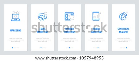 Marketing, Email marketing, Internet marketing, Mobile marketing, Statistical analysis Vertical Cards with strong metaphors. Template for website design.
