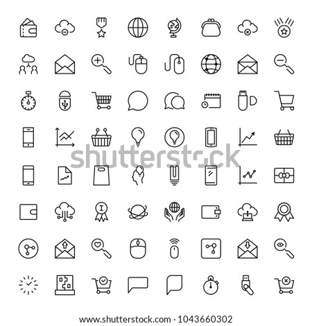 Marketing flat icon set. Single high quality outline symbol of info for web design or mobile app. Thin line signs for design logo, visit card, etc. Outline logo of graphic marketing
