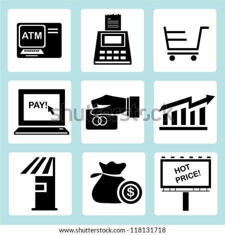 marketing icon set, financial icon set, shopping icon set
