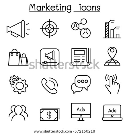 Shutterstock Marketing icon set in thin line style