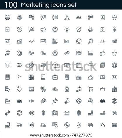 Marketing icon set with 100 vector pictograms. Simple outline business icons isolated on a white background. Good for apps and web sites.