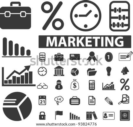marketing icons set, vector illustrations