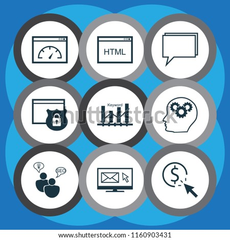Marketing icons set with pay per click, creativity, HTML code and other search optimization elements. Isolated vector illustration marketing icons.