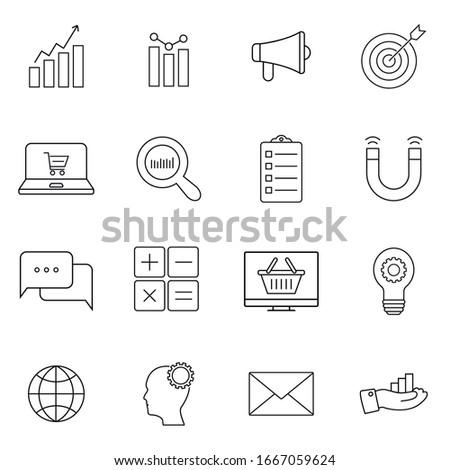 Marketing icons, thin line style, flat design. Symbol, logo illustration. Pixel perfect vector graphics