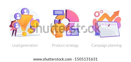 Marketing industry icons set. Potential client targeting, advertising business. Lead generation, product strategy, campaign planning metaphors. Vector isolated concept metaphor illustrations