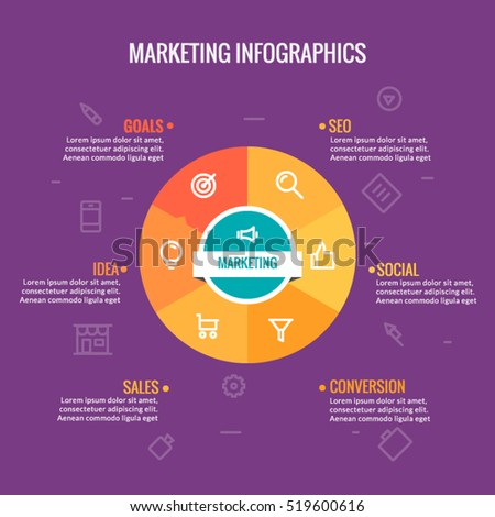 Marketing infographic vector template, perfect for describing digital marketing strategy, process, and planning, 6 options, parts, including marketing icons