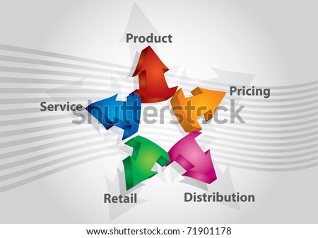 Marketing keys, abstract illustration with color arrows and text