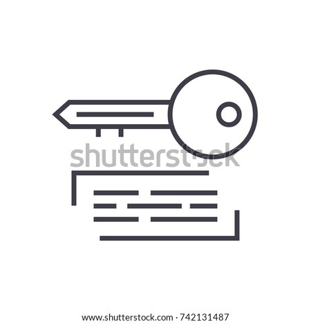 marketing keywording linear icon, sign, symbol, vector on isolated background