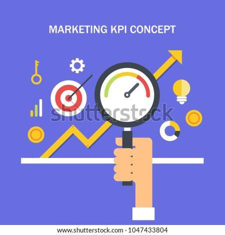 Marketing KPI - Key performance indicator - Marketing metrics flat vector with icons