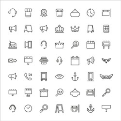 Marketing line icons set. Stroke vector elements for trendy design. Simple pictograms for mobile concept and web apps. Vector line icons isolated on a white background.
