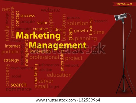 Marketing management concept of word cloud, with creative lighting studio light, Vector illustration modern template design