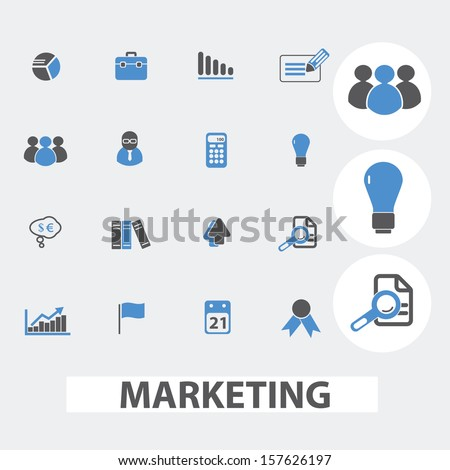 marketing, management, presentation infographics, icons set, vector