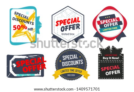 Marketing Material, Sticker, Stamp or Label for Limited Time Offer, Special Offer, Special Discount, Ends Soon. Isolated on White Background