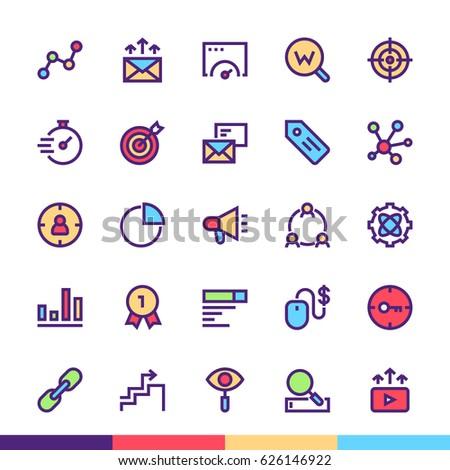 Marketing Minimalist and Modern Flat Vector Icons Set
