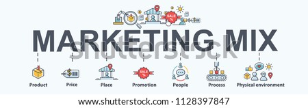 Marketing mix 7P banner web icon for business and marketing, price, place, promotion, product, people and physical environment. Minimal vector infographic.