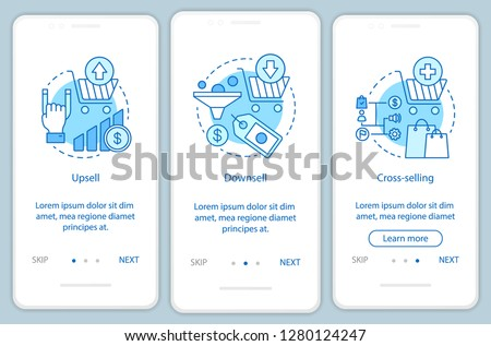 Marketing onboarding mobile app page screen vector template. Products and goods selling. Upsell, downsell, cross-selling. Sales techniques walkthrough website steps. UX, UI, GUI smartphone interface
