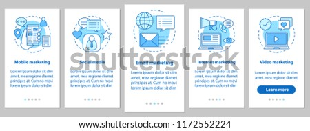 Marketing onboarding mobile app page screen with linear concepts. Social media, mobile, email, internet, video advertising. Targeted and contextual advert. UX, UI, GUI vector illustration