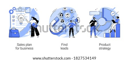 Marketing plan and business strategy abstract concept vector illustration set. Sales plan for business, find leads, product strategy, budget growth, brand awareness, target group abstract metaphor.