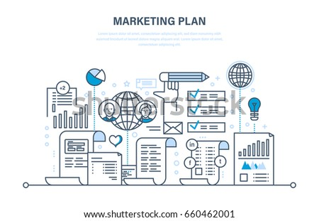 Marketing plan, business advertising, e-commerce, seo, branding, sales promotions, strategy and planning. Illustration thin line design of vector doodles, infographics elements.