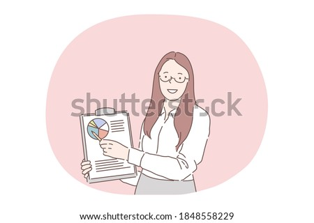 Marketing, presentation, data statistics market report. Young smiling woman office worker or marketing specialist standing and making presentation with statistics and diagram data information on paper