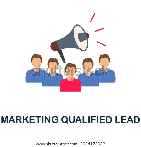 Marketing Qualified Lead flat icon. Colored sign from customer management collection. Creative Marketing Qualified Lead icon illustration for web design, infographics and more