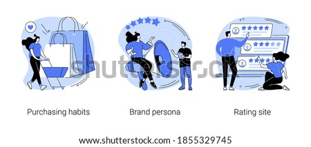 Marketing research abstract concept vector illustration set. Purchasing habits, brand persona, rating site, online shopping, focus group, user feedback, product review, e-commerce abstract metaphor. Foto stock ©